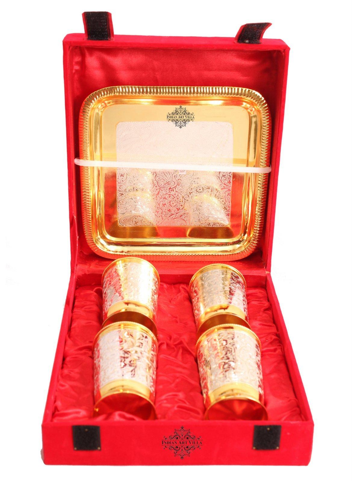 Indian Art Villa Set of 4 Designed Silver Plated Gold Polished Glasses Goblets - Serving Water Home Hotels Restaurants Tableware Gift Item
