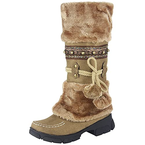 wealsex Bottes Fourrées Doublée Chaleureux Botte de Neige AU Genou Bohême Talons Epais Chaussure de Coton Chaussures d'hiver Grande Taille 39 40 Femme