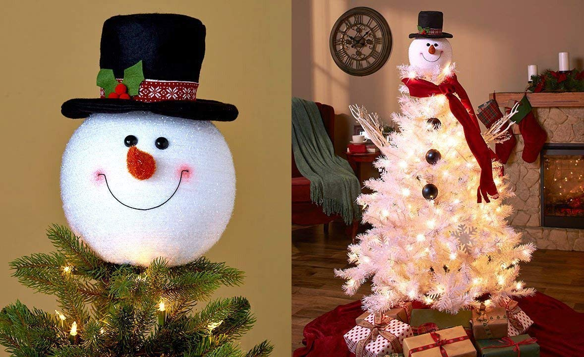 2 PACK Frosty Snowman Top Hat Christmas Tree Topper Decor Holiday Winter Wonderland Decoration by KNL Store (2)
