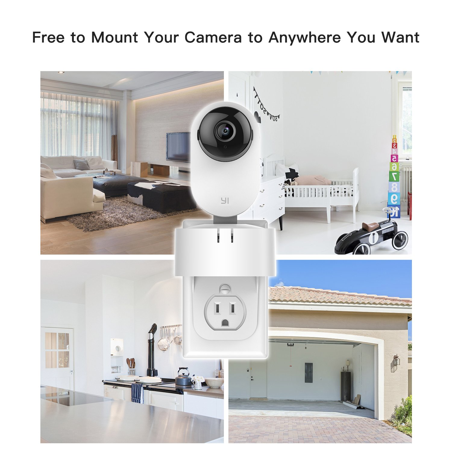 Yi Home Camera Ac Outlet Wall Mount 360 Degree Swivel Electric Plug Wiring Stand Holder Bracket For 1080p 720p No Messy Wires Or