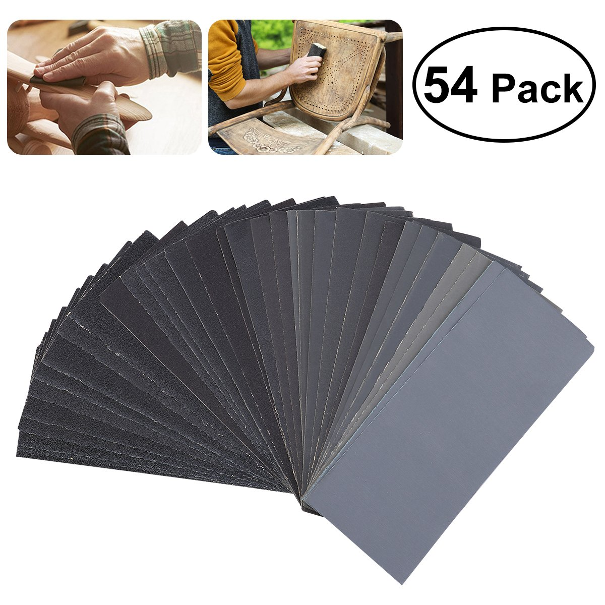 UEETEK 54pcs 60 to 3000 Grit Sandpaper Assortment Wet Dry Sand Paper for Automotive Sanding Wood by UEETEK