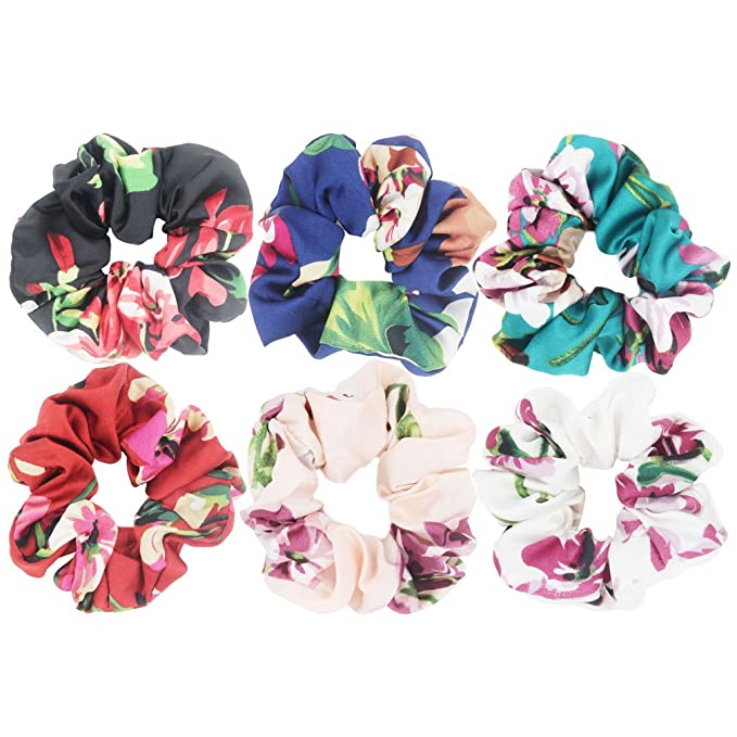3 New bylucy Floral Flower Cotton Ditsy Liberty Hair Band Elastic Scrunchies