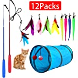 M JJYPET Retractable Cat Toy Wand, 12 Packs Interactive Cat Feather Toys, 9 Assorted Teaser Refills with Bell for Cat…