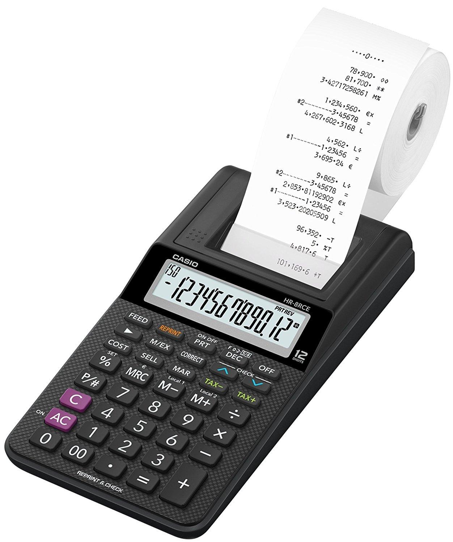 Casio HR-8RCE-BK-Bundle Calcolatrice Scrivente + Alimentatore Di Rete
