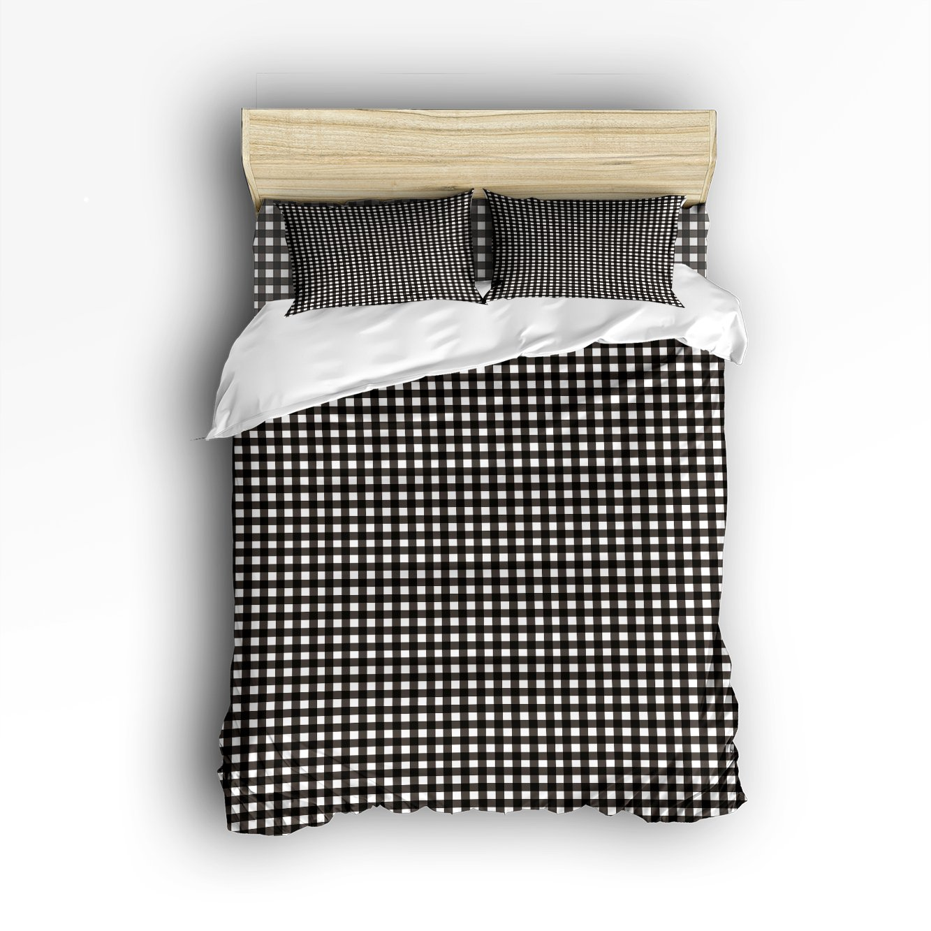 Libaoge 4 Piece Bed Sheets Set, Black White Buffalo Check Plaid Pattern, 1 Flat Sheet 1 Duvet Cover and 2 Pillow Cases