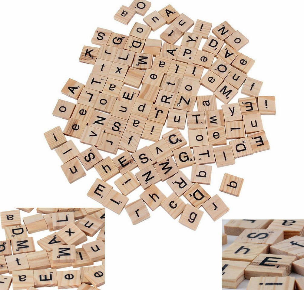 100 WOOD SCRABBLE TILES WOODEN BLACK NUMBERS LETTERS BOARD GAME Unknown