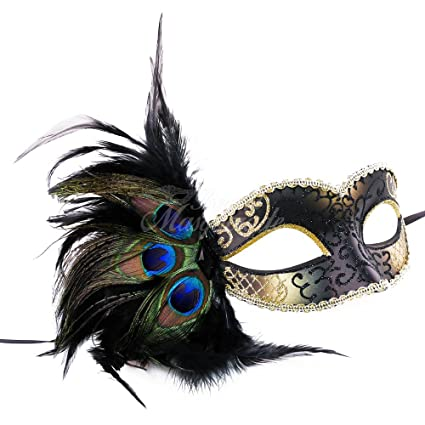 Image Unavailable. Image not available for. Color: Venetian Peacock Feather  Mask ...