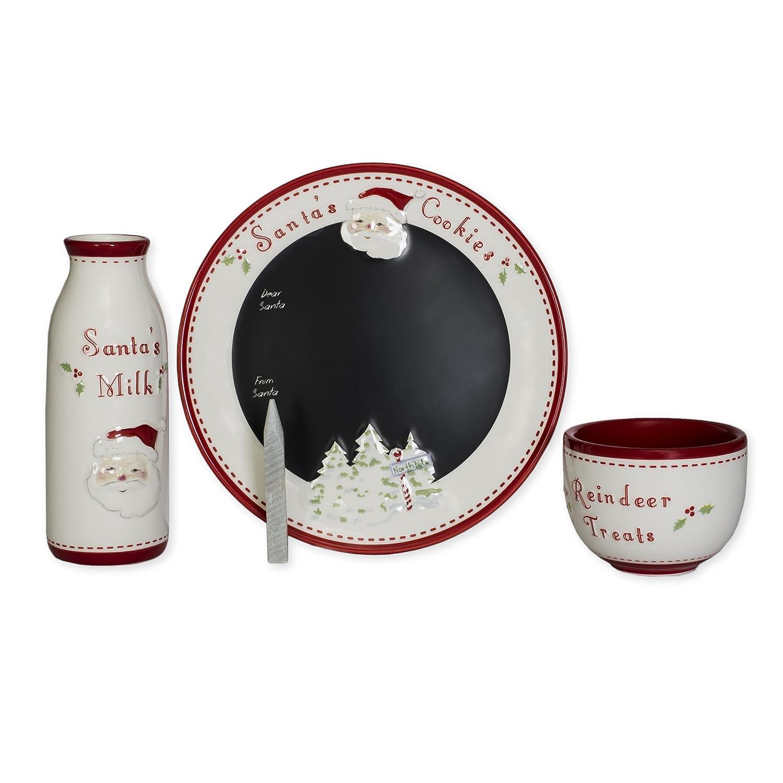 Santa and Reindeer Goodies 3pc Ceramic Message Plate Perine Lowe No Model