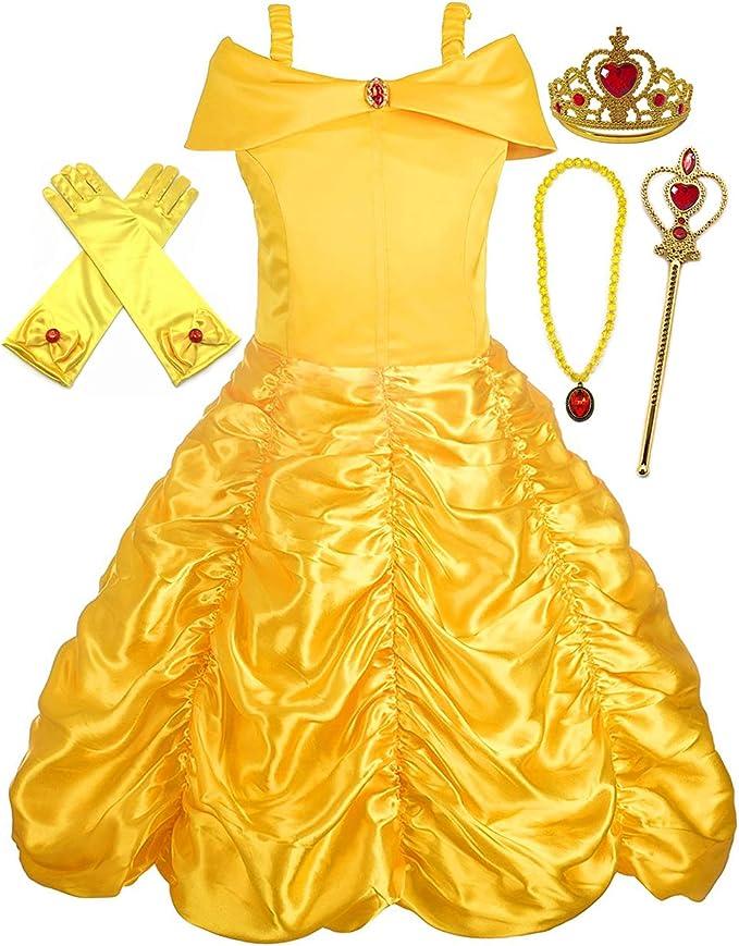 Zauberstab und Halskette Diadem Handschuhe Alead Prinzessin Kost/üm Belle Kleid und Zubeh/ör