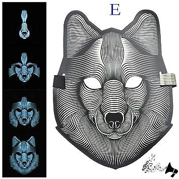 TAOtTAO - Máscara de luz LED para Halloween con Sonido reactivo, E, 4 Piezas: Amazon.es: Hogar