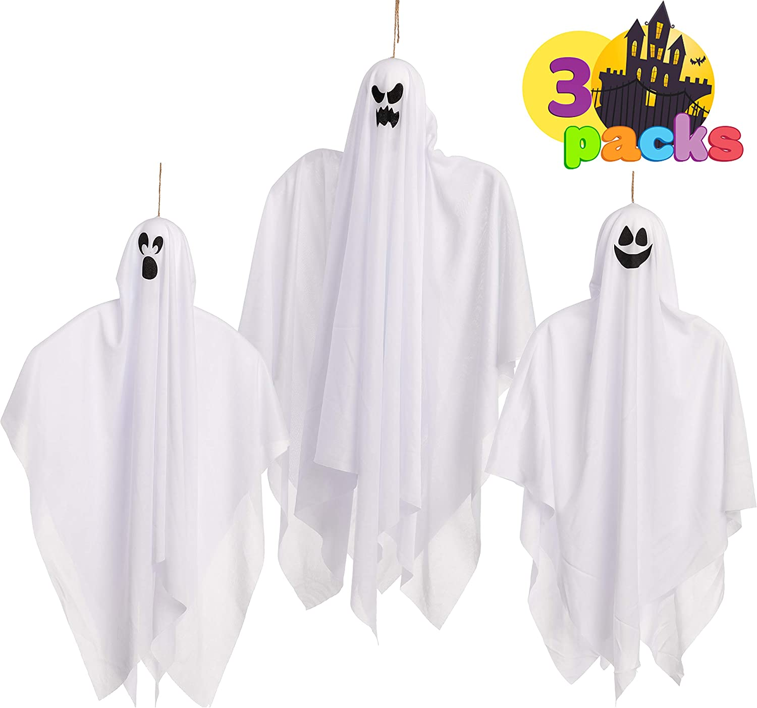 Halloween Hanging Ghosts Glow in the Dark(3 Pack, Mix Size) for Halloween Party Decoration, Cute Flying Ghost for Front Yard Patio Lawn Garden Party Décor and Holiday Halloween Hanging Decorations