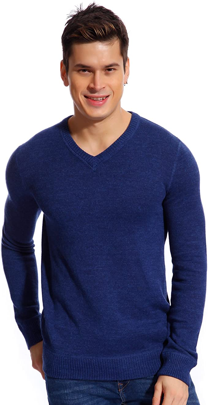 Copperside Mens 100% Cotton Knitted Long Sleeves V,Neck Sweater Outwear  Casual Sweater Shirt