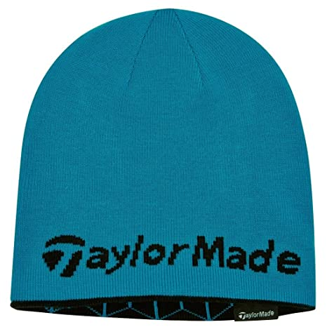 2015 Ladies TaylorMade Reversible Thermal Golf Beanie Double Knitted Womens  Hat Turquoise Black 6c13173b352a