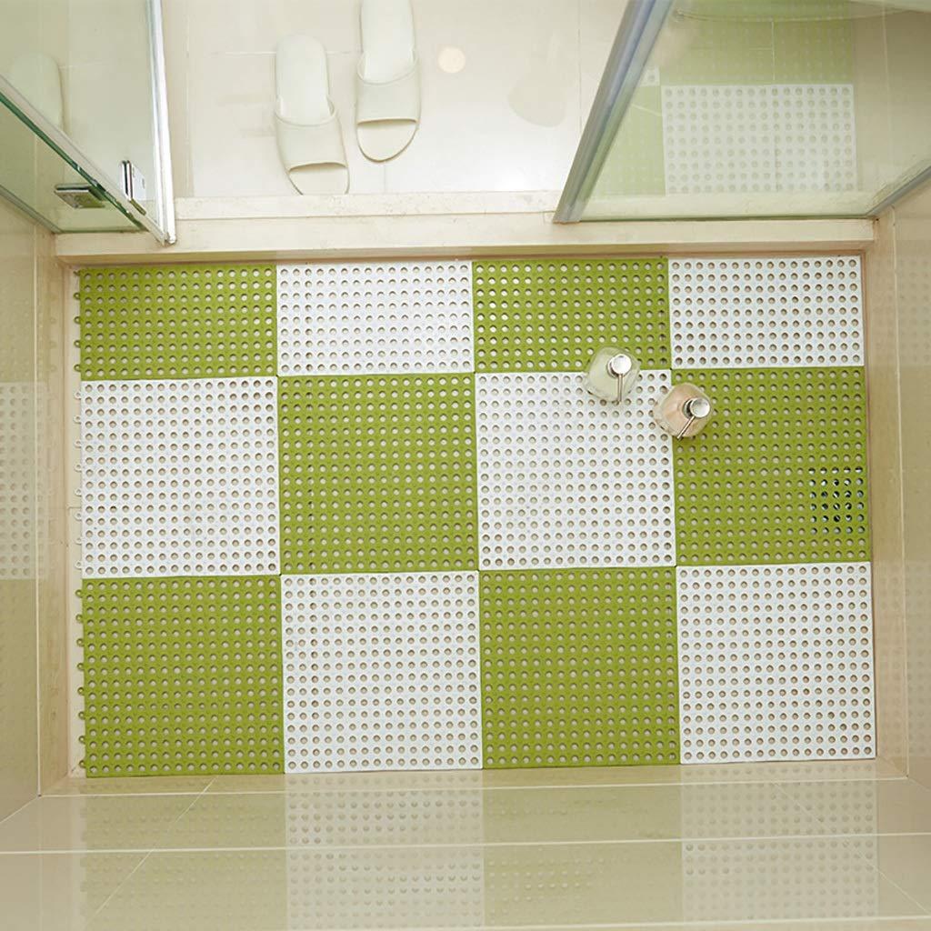 Bath mats antiscivolo Absorbent Floor Mat Stitching Shower Room Bathing Water Hollow Plastic Foot mat (Size : 3030CM(12PIC))