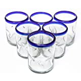 Blue Rim Mexican Kitchen Thick Durable Lead Free Recycled Clear Hand Blown Drinking Glasses Cups Stemless Juice…