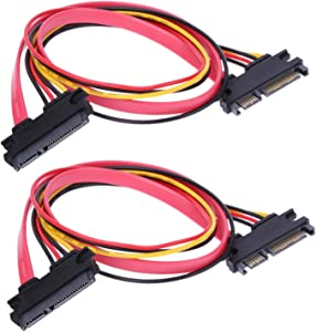 RLECS 2-Pack 50cm SATA Power Cable 22Pin (7+15) Male Plug to 22 Pin Female Jack Connector SATA Serial ATA Data Power Combo Extension Cables Wire Cords