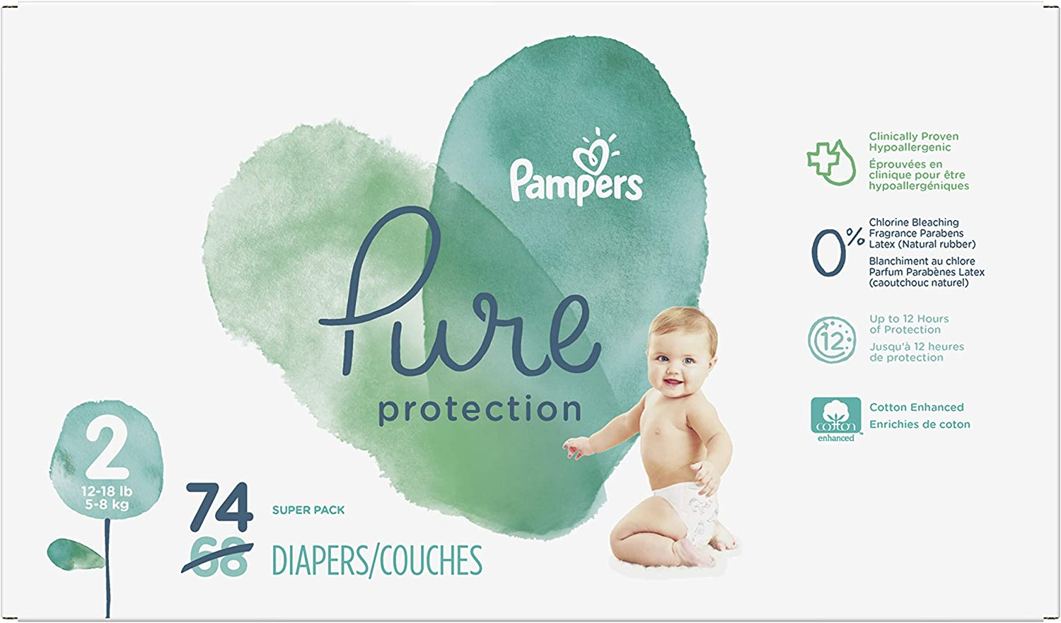 Diapers Size 2, 74 Count - Pampers Pure Protection Disposable Baby Diapers, Hypoallergenic and Unscented Protection, Super Pack