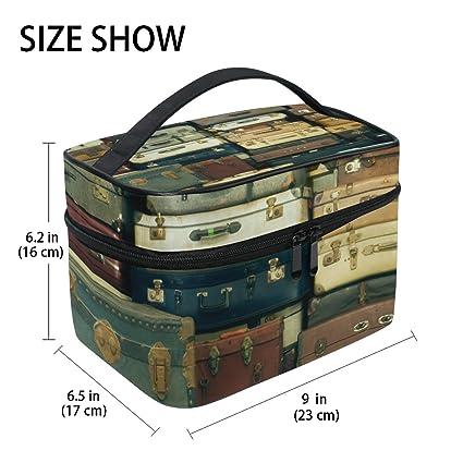 TIZORAX Old Vintage maletas grandes cosméticos bolsa de viaje maquillaje organizador caso soporte para mujeres niñas