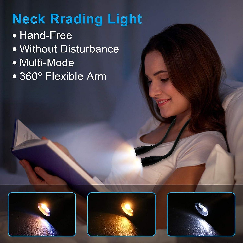 1000mAh Akku Energieklasse A+++ omitium LED Leselampe Stricken Reparieren Schwarz Augenpflege LED Halslampe mit 3 Lichtfarben Zum Lesen,Wiederaufladbar LED Buchlampe f/ür Lesen Camping