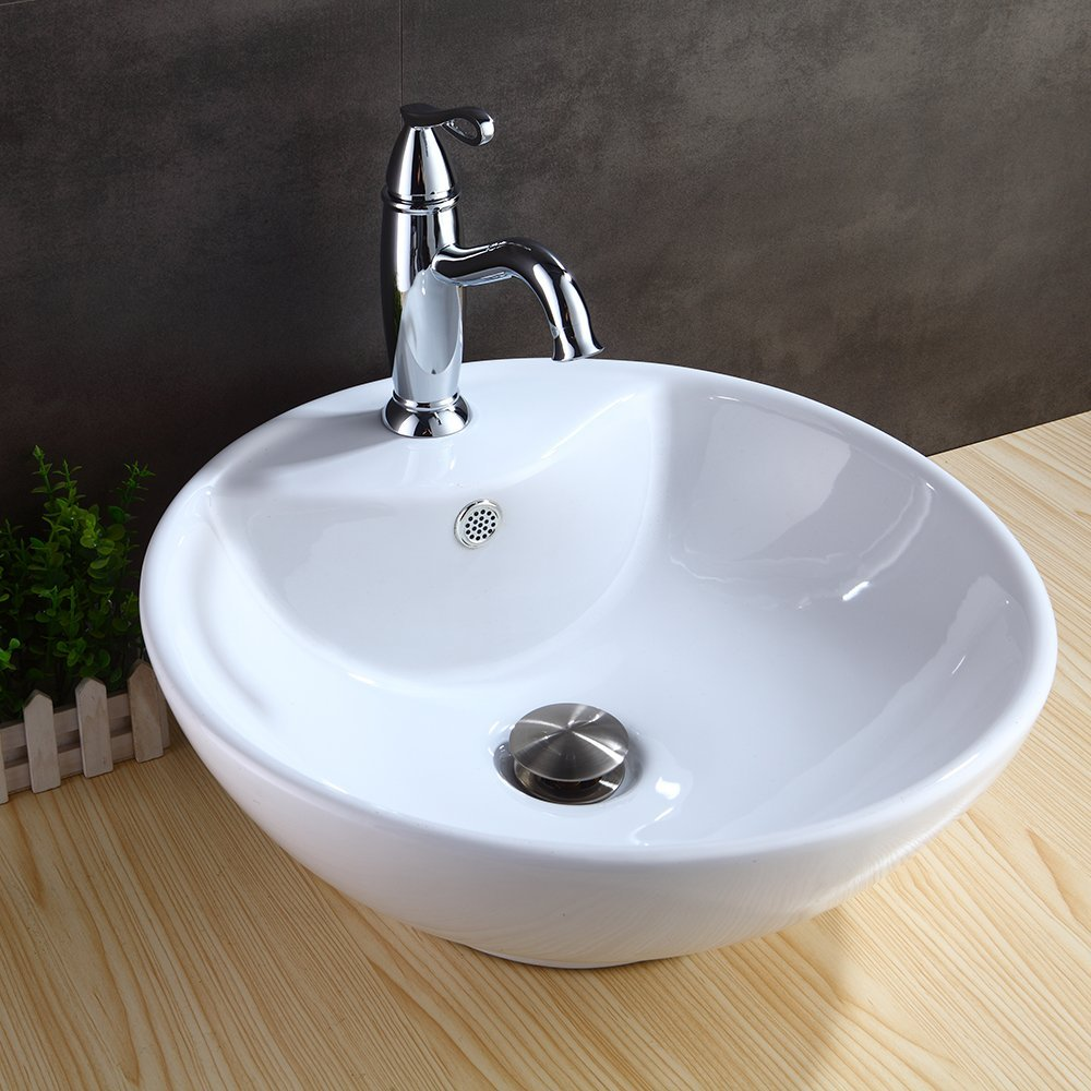 1 5//8 Bathroom Sink Drain with Removable Brass Strainer Basket HOMELODY Vessel Sink Drain Anti-clogging Pop Up Drain Stopper Polished Chrome without Overflow HL8018ACP