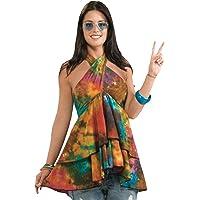 Forum Novelties Women's 60's Hippie Revolution Ruffle Top Halter Blouse - Multi - Standard
