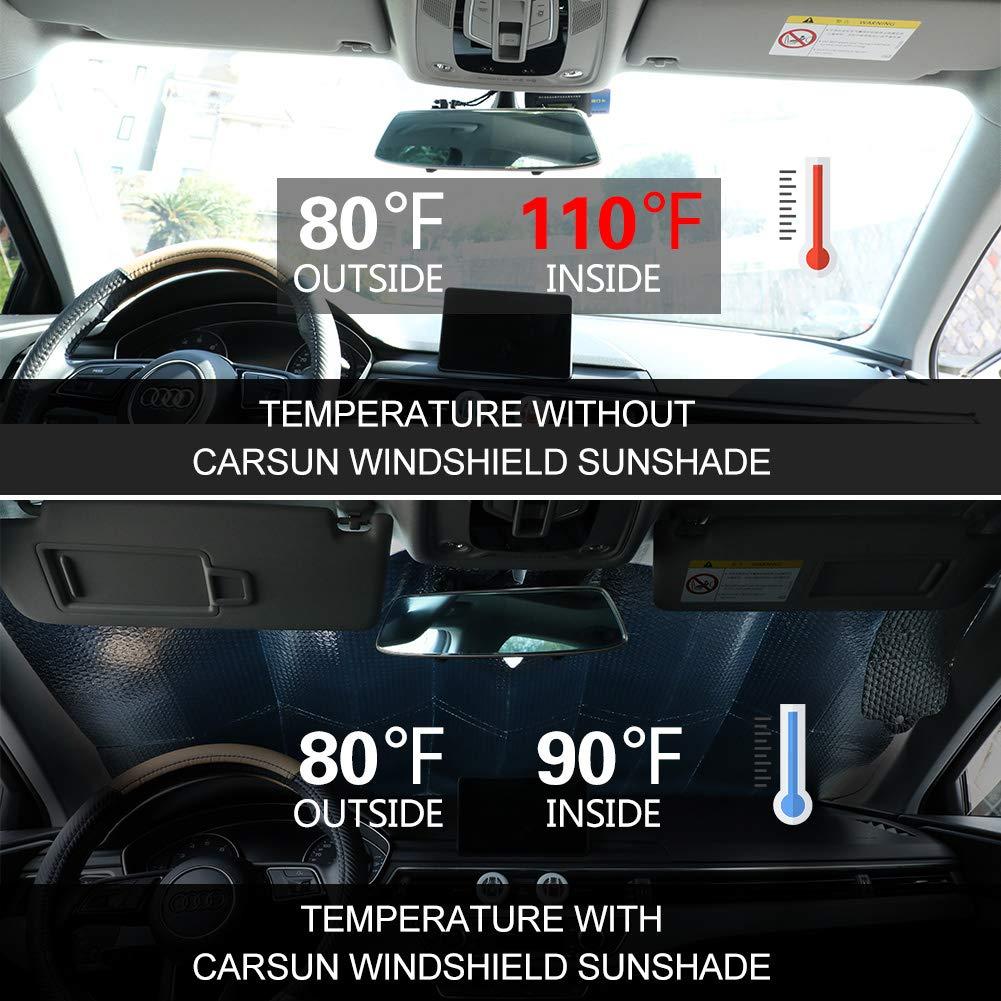 128 Aluminiumfolie Windschutzscheibe Sonnenblende Faltbare Einfache Lagerung 67 cm f/ür Mittelklassewagen PowerTiger Auto Sonnenschutz f/ür Frontscheibe