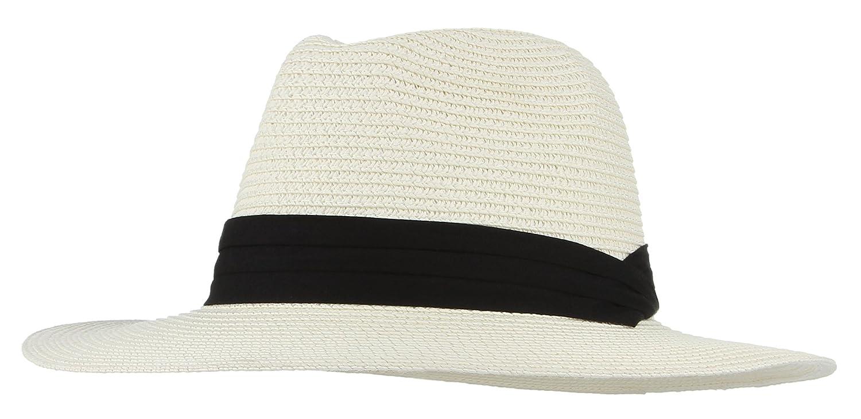 175671e0e9f Gemvie Men s Straw Hats Beach Cap Fedora Sun Hat Trilby Panama Jazz Hat  Beige  Amazon.ca  Clothing   Accessories