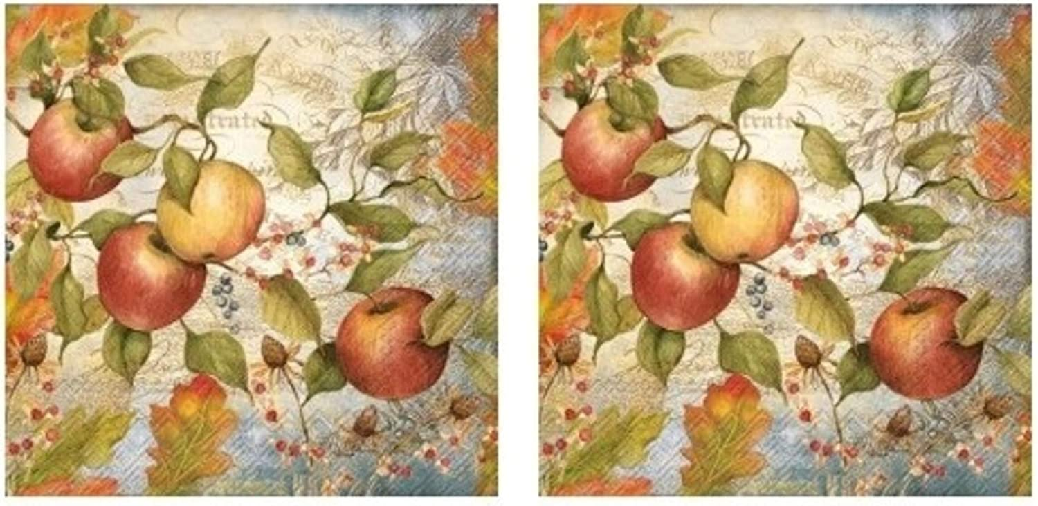 Autumn Apples 3-Ply Paper Cocktail Napkins 40-Count, Fall Apple Decor Barware Beverage Serviettes
