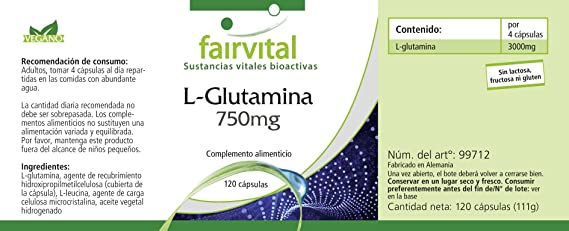 L-Glutamina 750mg - VEGANA - Dosis elevada - 120 Cápsulas ...