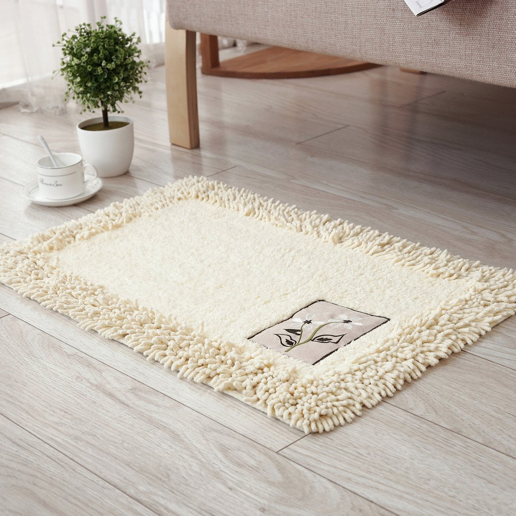 TOFERN 100% Cotton Chenille Shaggy Embroidery Bathroom Bedroom Rug Non-slip Absorbent Durable Skin-friendly Machine Washable Anti-fading Doormat Home Decor Carpet Entrance Mats, Beige, 45X70cm