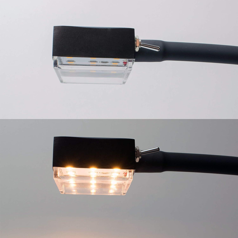 Yu Yang Manila v.2 Bettleuchte mit flexiblem Schwanenhals (Warmweiß, Silber, Schlafzimmerlicht) (Chrom glänzend) 2er Set in Schwarz Glänzend
