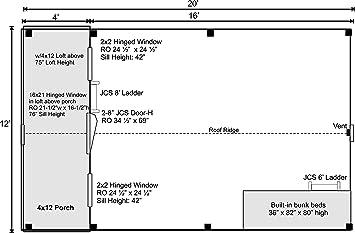 Marco de madera para postes y vigas de cabina – 12 x 20 litera con ...