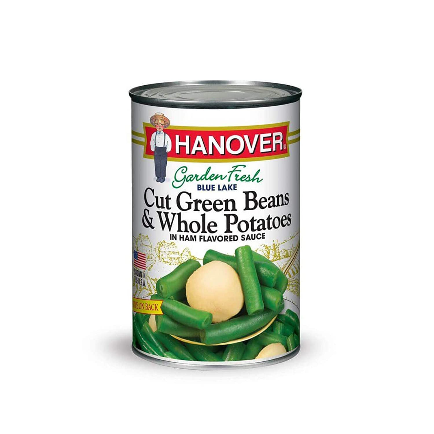 Hanover Beans and Potatoes Cut Green and Whole In Ham Flavored Sauce, 39 oz