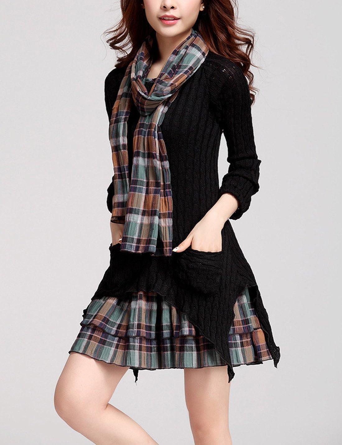 Gihuo Womens Plaid Splicing Bodycon Sweater Dress Knit Tunic Top with Irregular Hem