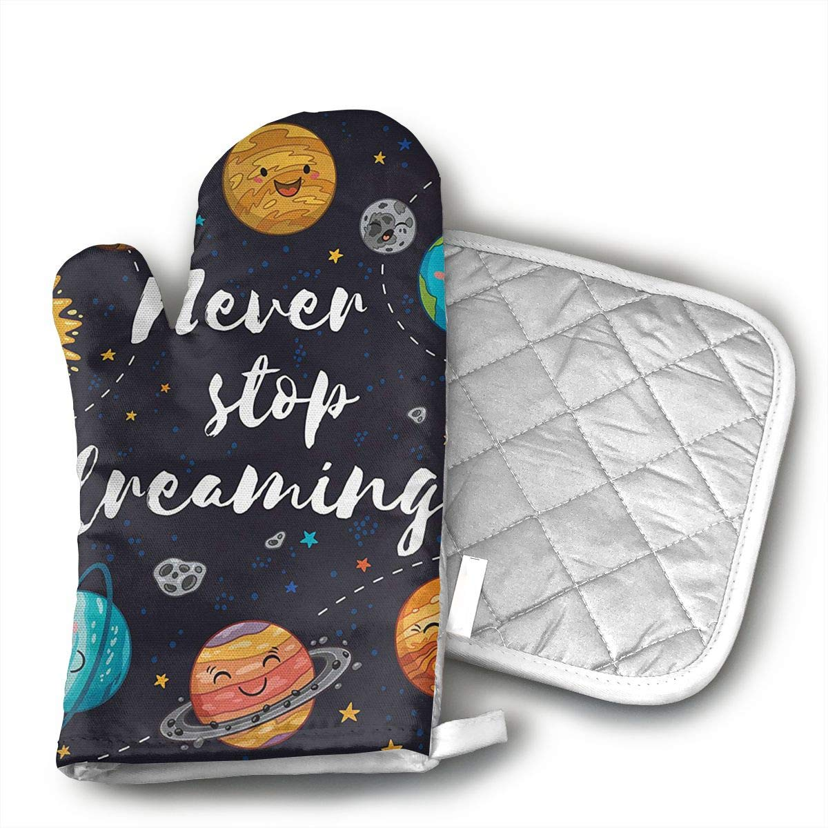 Cute Outer Space Planets and Star Cluster Solar Moon and Comets Sun Cosmos Oven Mitts, Non-Slip Silicone Oven Mitts, Extra Long Kitchen Mitts, Heat Resistant to 572¡ãF Kitchen Oven Gloves
