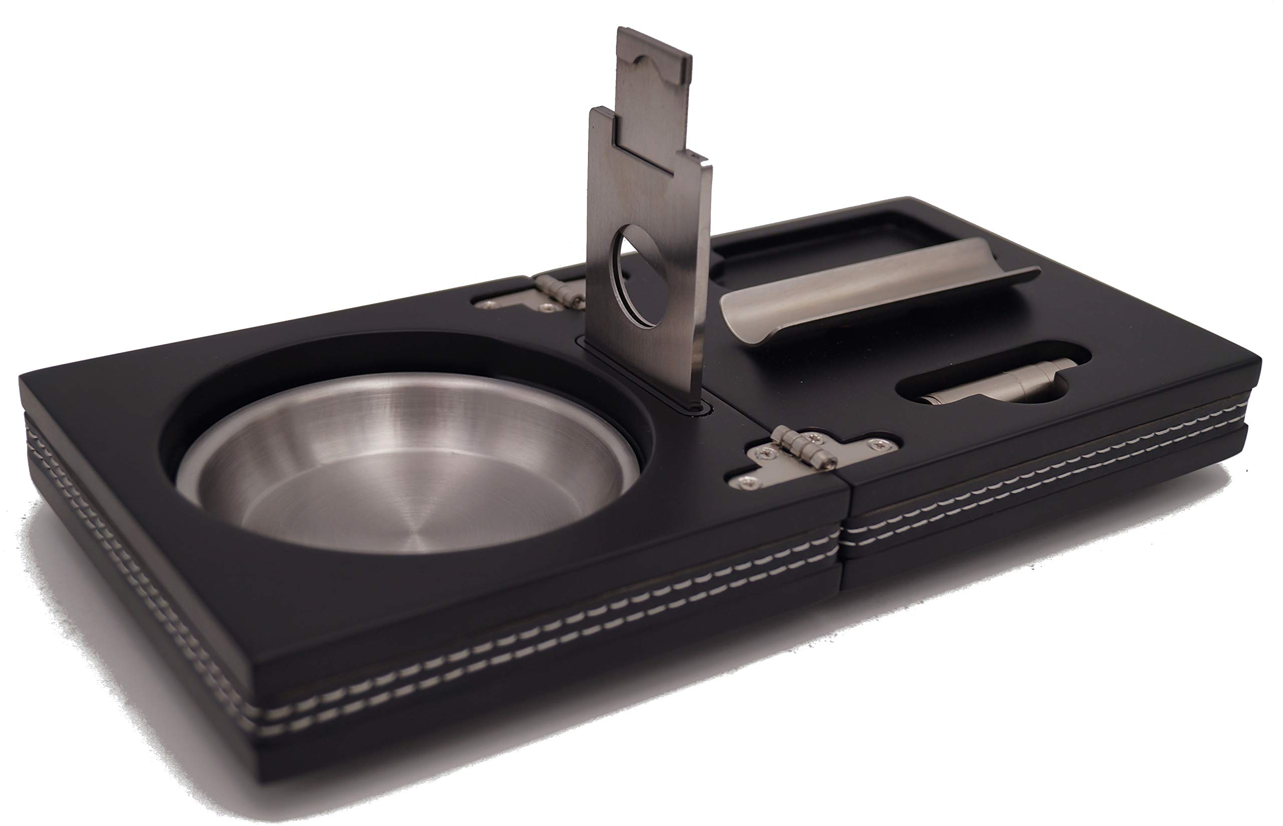GERMANUS - The Box - Set of Cigar Ashtray Cutter Punch Holder, Black