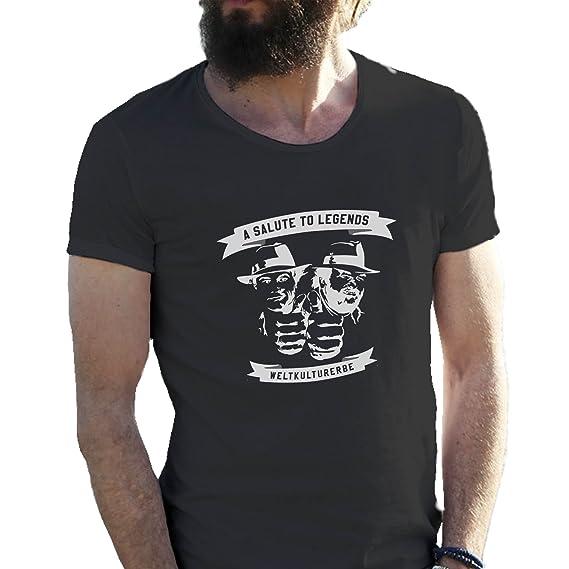 2e1a804ca4f6 Bud Spencer Bulldozer   Terrence Hill Art Sketch Weltkulturerbe Schwarz  Herren T-Shirt X Large