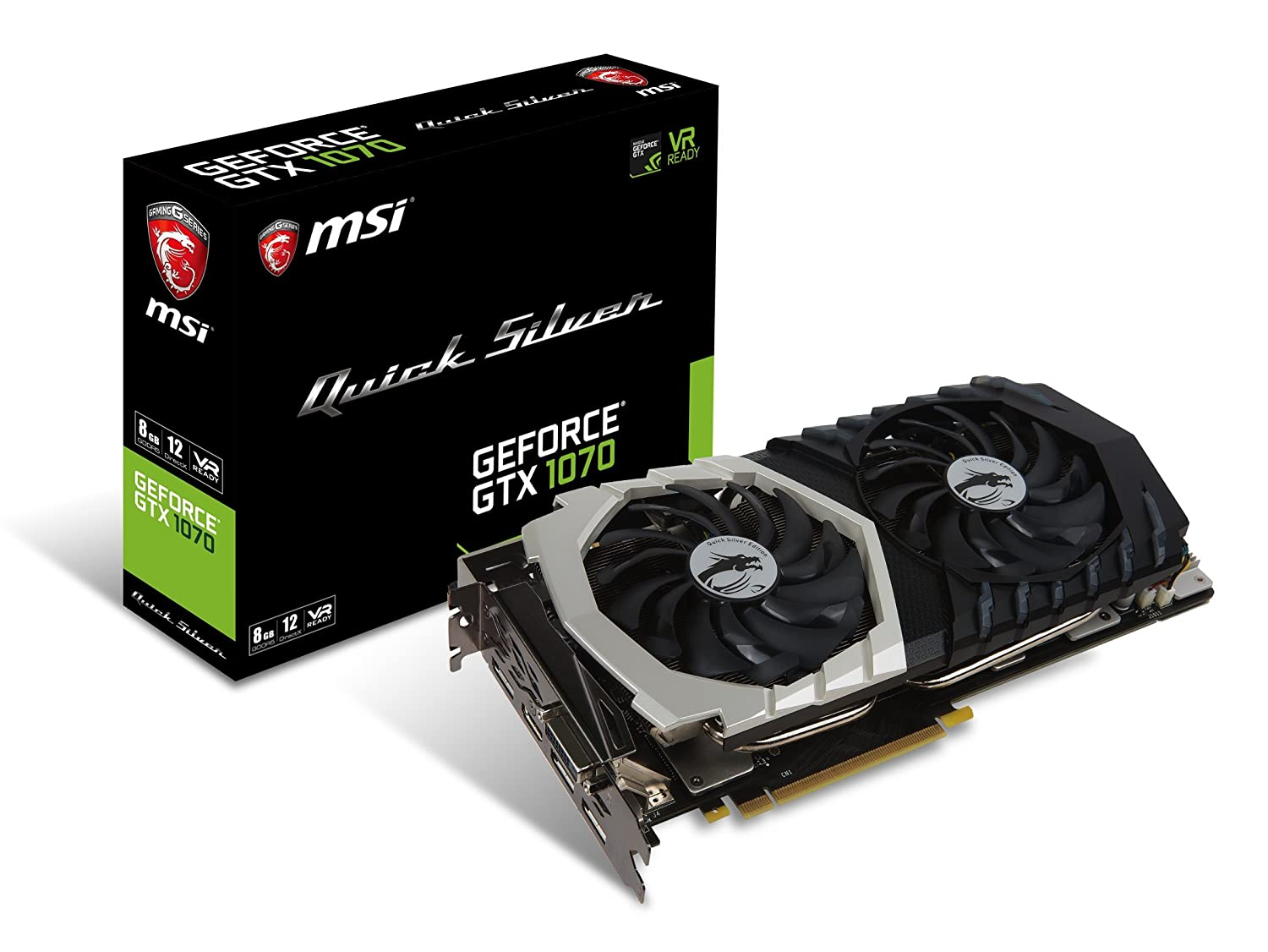 MSI Gaming GeForce GTX 1070 8GB GDDR5 SLI DirectX 12 VR Ready Graphics Card (GTX 1070 Quick Silver 8G OC)