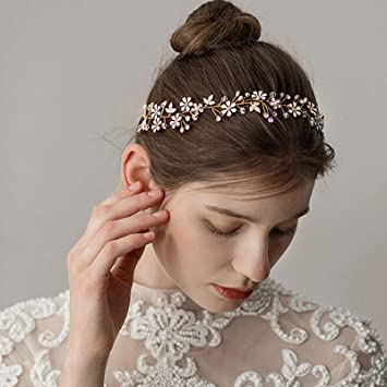bade0d73c Amazon.com : SWEETV Gold Wedding Headband Rhinestone Hair Vine Bridal Hair  Accessories for Brides Flower Girl : Beauty