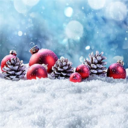 csfoto 5x5ft background for christmas ball merry christmas photography backdrop pine cone snowflake bokeh snow happy