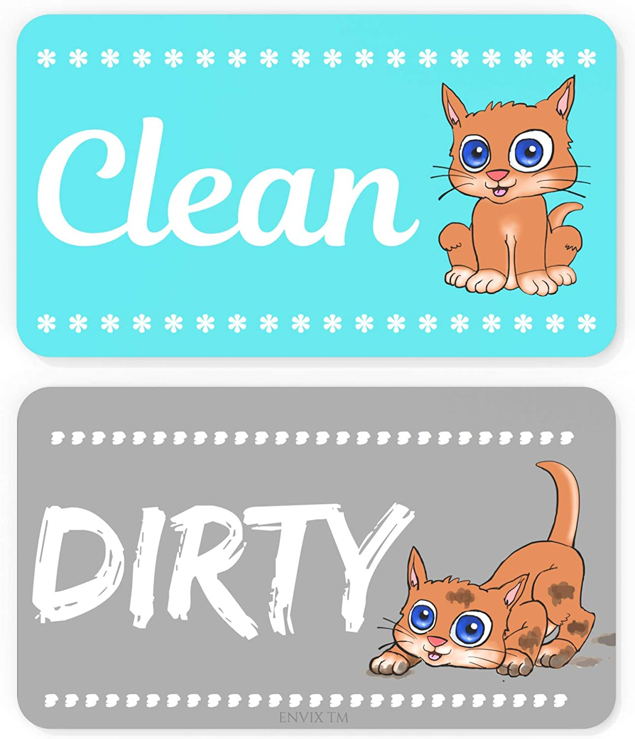 Dishwasher Magnet Clean Dirty Sign - Strongest Magnet Double Sided Flip - With Bonus Metal Magnetic Plate - Universal Kitchen Dish Washer Reversible Indicator (Aqua Cat)