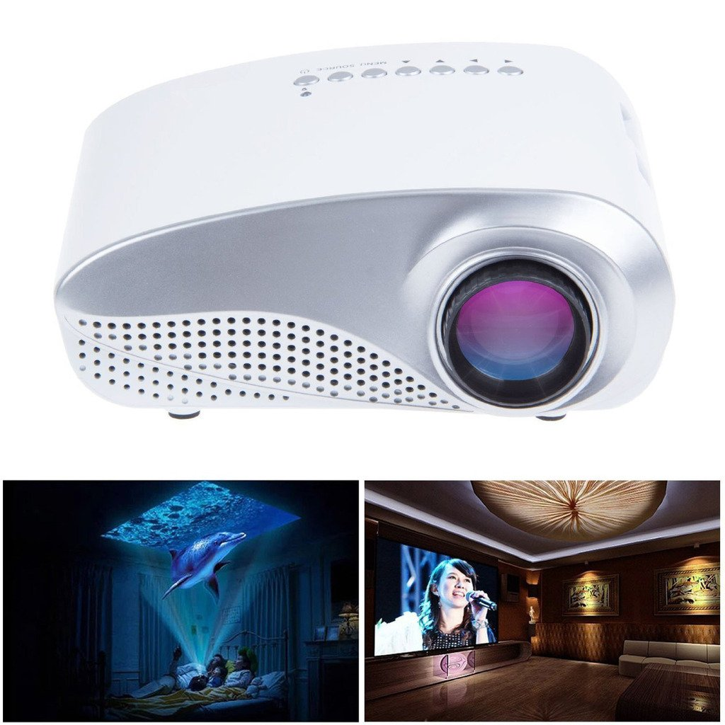 Mengshen Mini Pocket Projector Support HD 1080P Home Cinema/iPhone/Andorid/ iPad/Laptop Computer Mobile LED Projector MS-RD802(White)