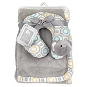Cribmates Blanket with Neck Support, Teal/Yellow/Grey Elephant