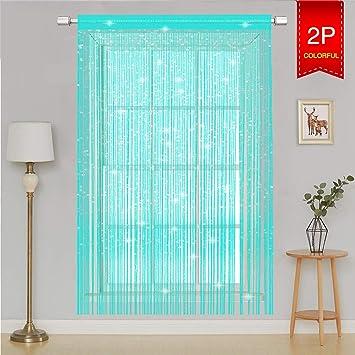 AIZESI 2 Stück ScheibenGardinen Modern Kinderzimmer Küche, Fadenvorhang  90x200 Insektenschutz Fliegenschutz, als ...