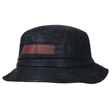 de03e528114ed ililily Vintage Faux Leather Short Brim Fedora Tone On Tone Pork Pie Bucket  Hat
