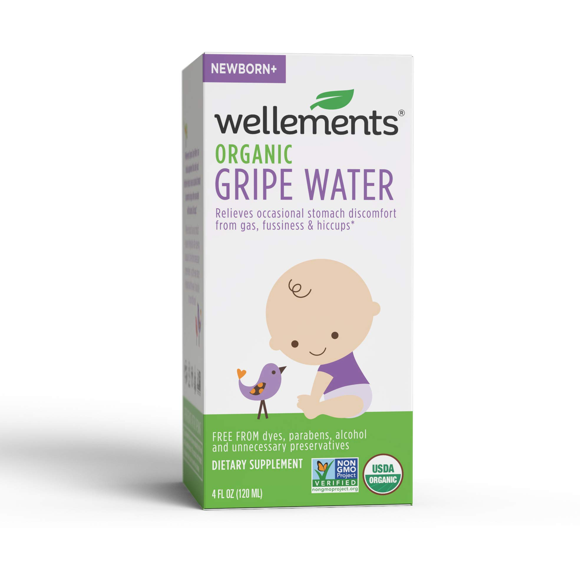 Wellements Organic Gripe Water, 4 Fl Oz, 2 Count, Eases Baby's Stomach Discomfort and Gas, Free From Dyes, Parabens…