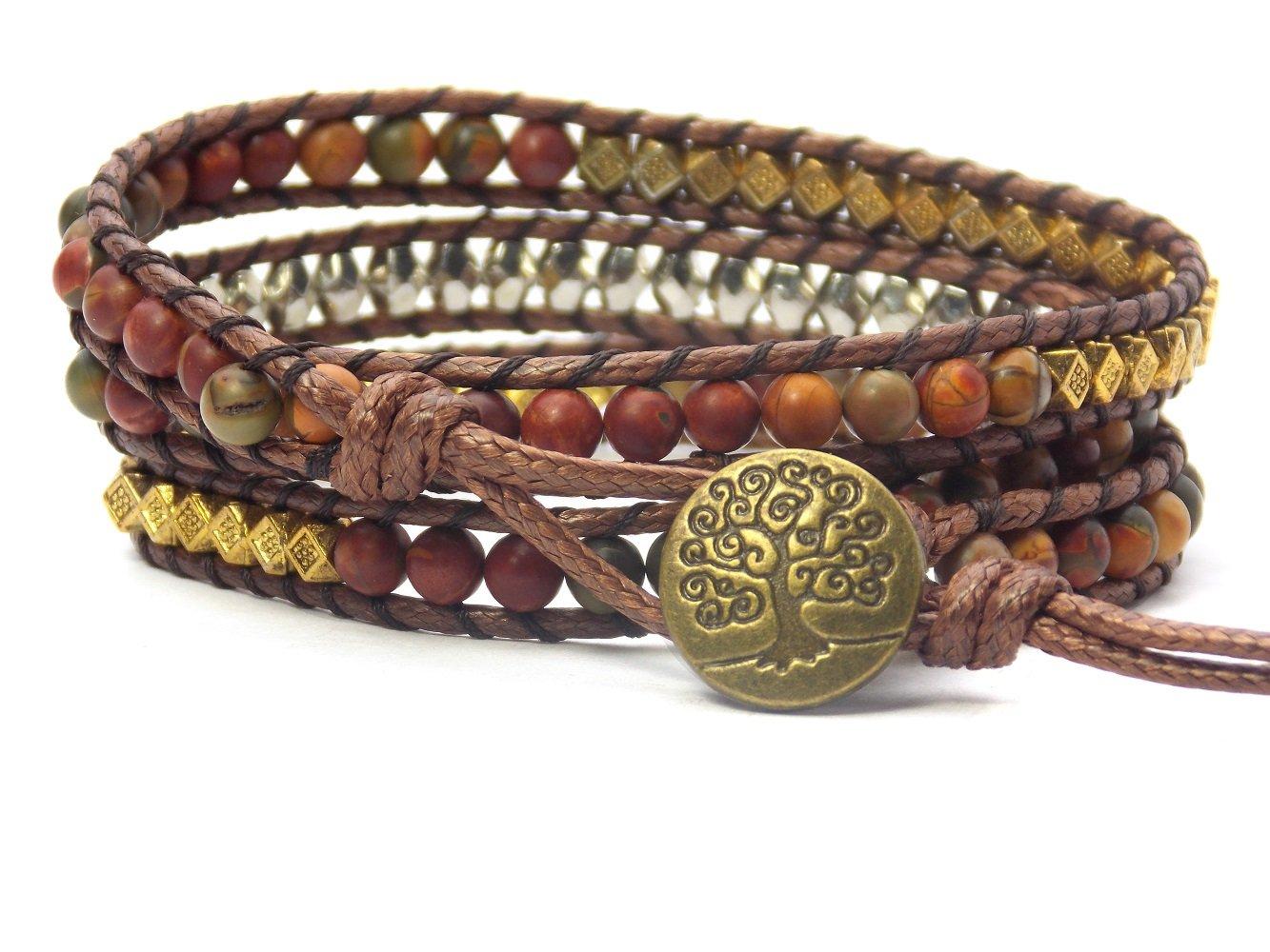Tree of Life Bracelet Picasso Jasper Beaded Wrap (Bronze Button) by Carolyn Jane's Jewelry