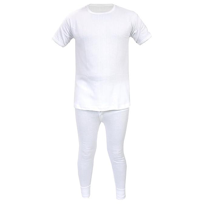 Conjunto de ropa interior térmica infantil, pantalón largo y camiseta de manga corta Blanco blanco