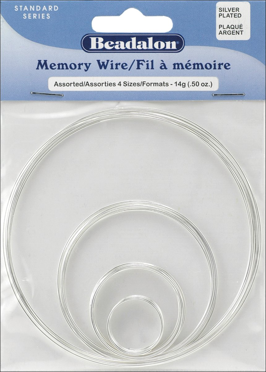 Amazon.com: Beadalon Memory Wire Assortment Pack 4-Size Silver ...