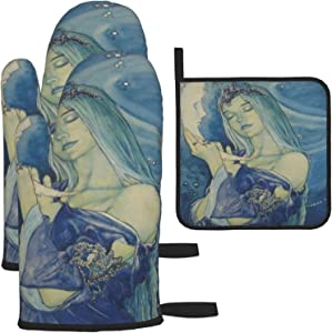 Girl Holding The Moon Oven Gloves and Pot Holders Heat-Resistant Food-Grade Kitchen Insulation Gloves Suitable for Cooking Baking Grilling